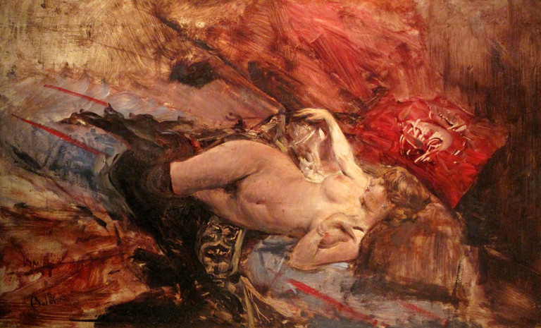 Boldini, Nudo di giovane sdraiata con calze nere