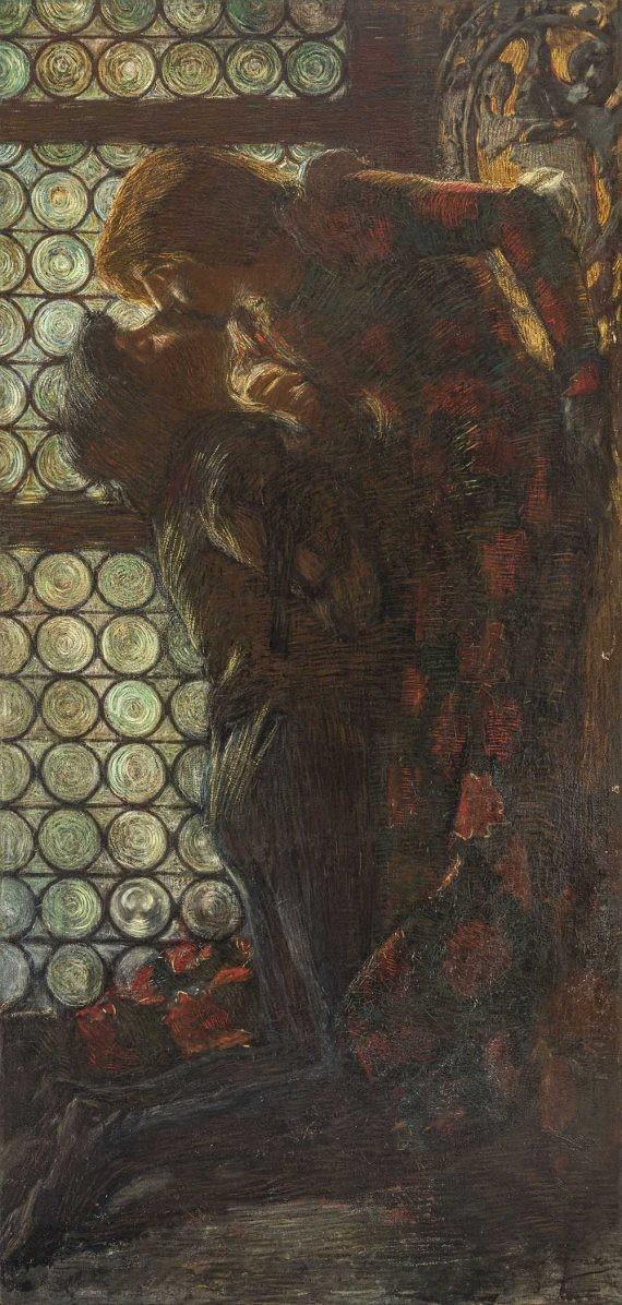 Gaetano Previati. Penombre o Giulietta e Romeo o Il bacio, (1889-1891). Olio su tela