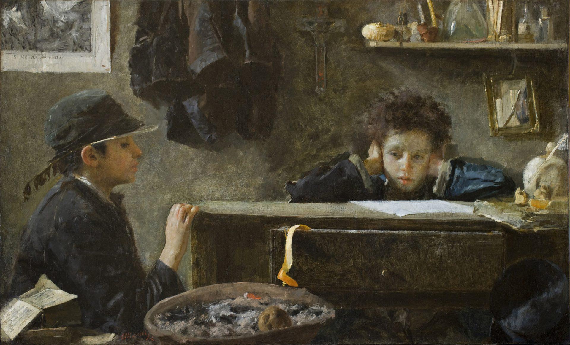 Antonio Mancini, Acque basse, 1874, olio su tavola