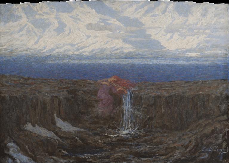 Emilio Longoni, La voce del ruscello, 1904 Olio su tela