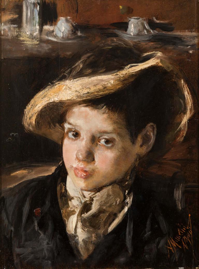 Antonio Mancini, La paglia rotta,  1875