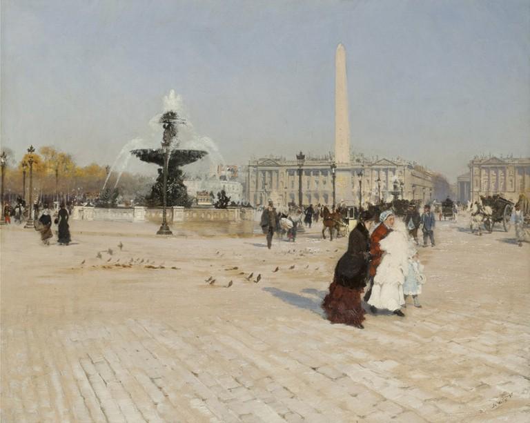 Giuseppe De Nittis, Un angolo della Piazza della Concordia a Parigi, 1880. Olio su tela.