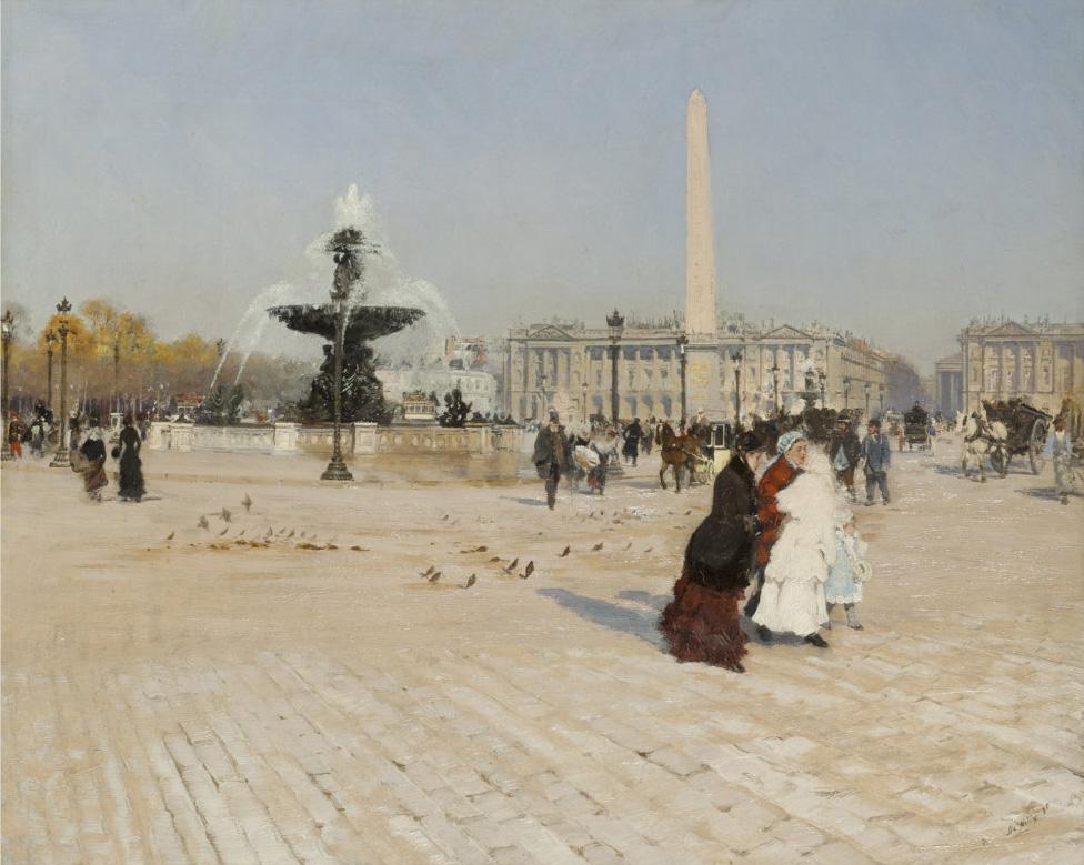 Giuseppe De Nittis, Un angolo della Piazza della Concordia a Parigi, 1880