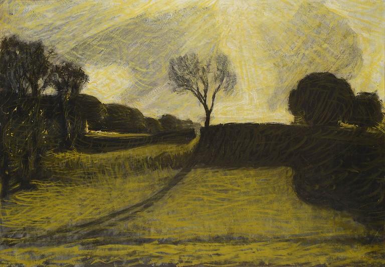 Giacomo Balla, Paesaggio di Villa Borghese, 1910, olio su carta intelata