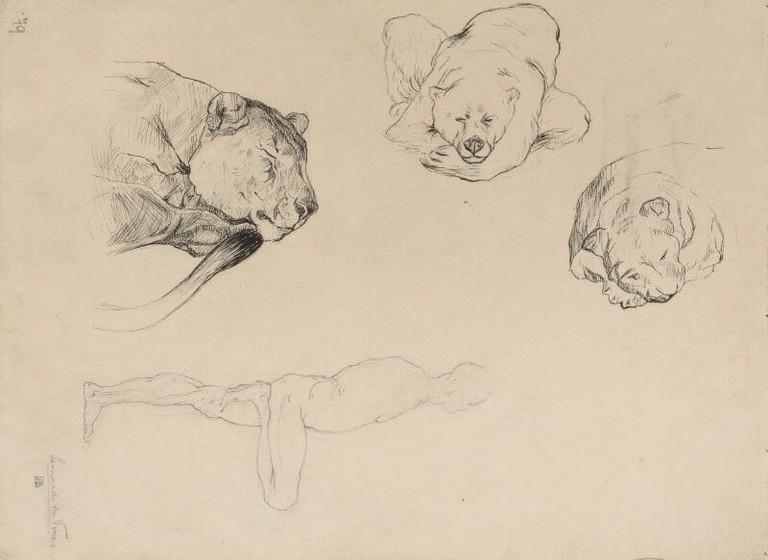 Boccioni, particolare del disegno Finestra