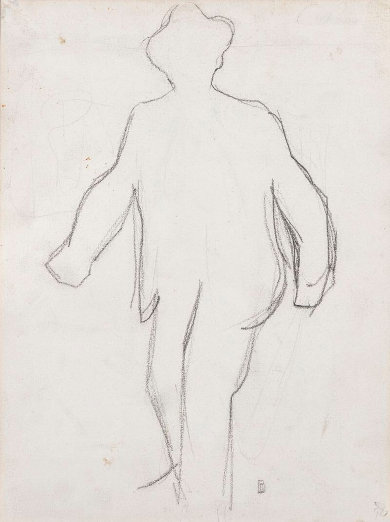 Boccioni, particolare del disegno Uomo seduto
