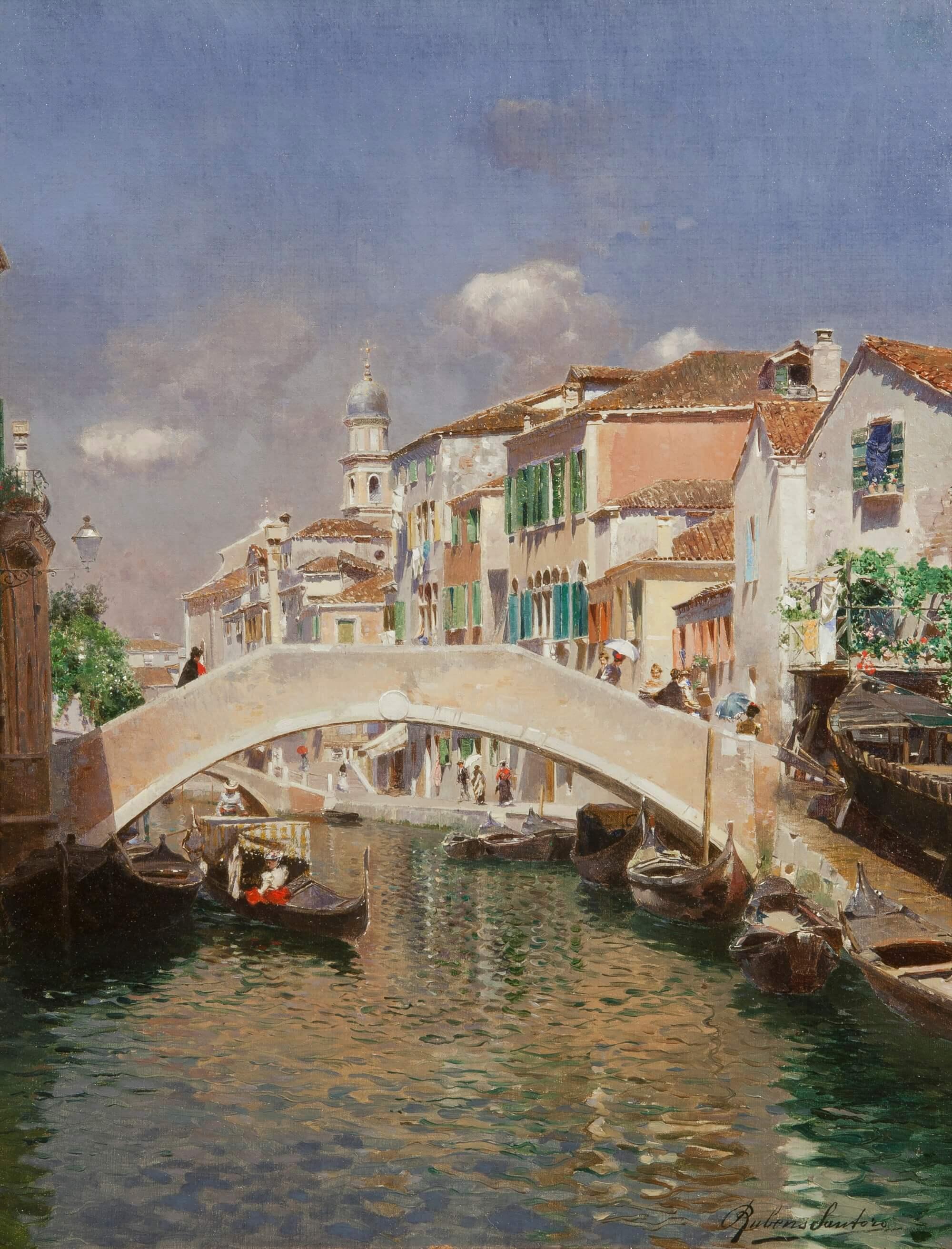 Rubens Santoro. Canale veneziano. Olio su tela. Galleria Bottegantica