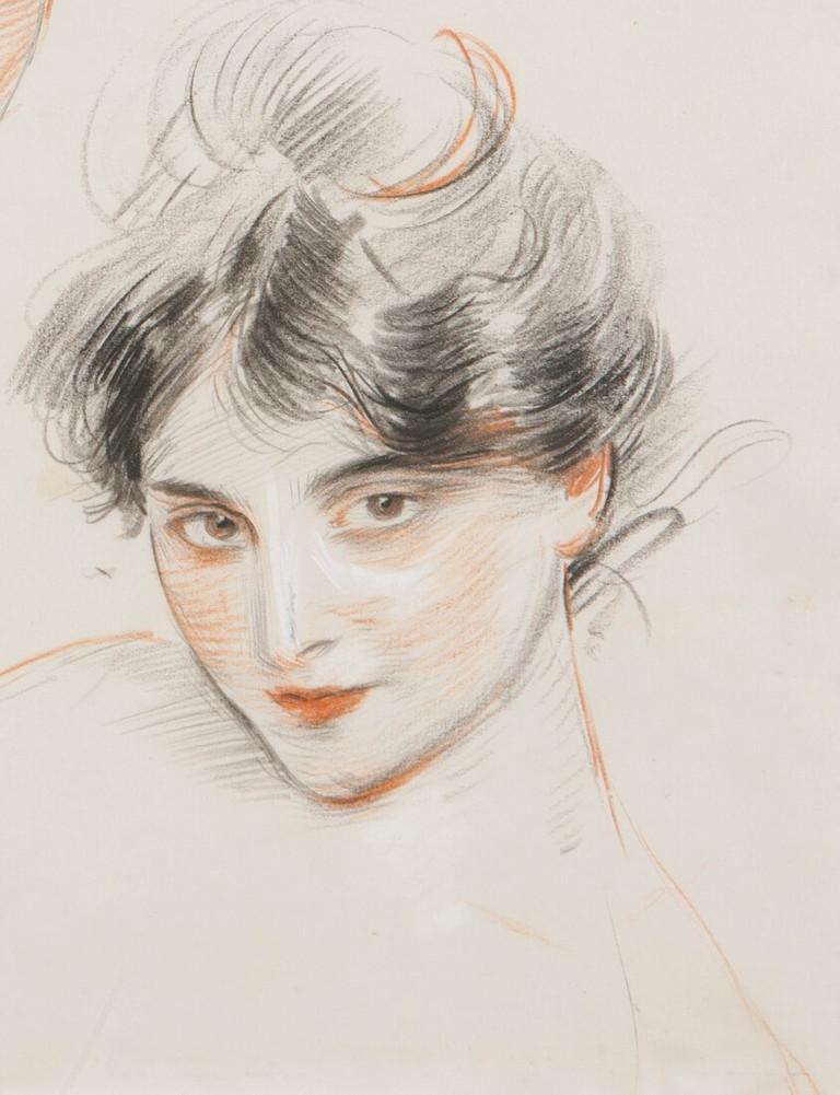 Paul César Helleu. Mademoiselle Conquis, étude de têtes, 1890 circa