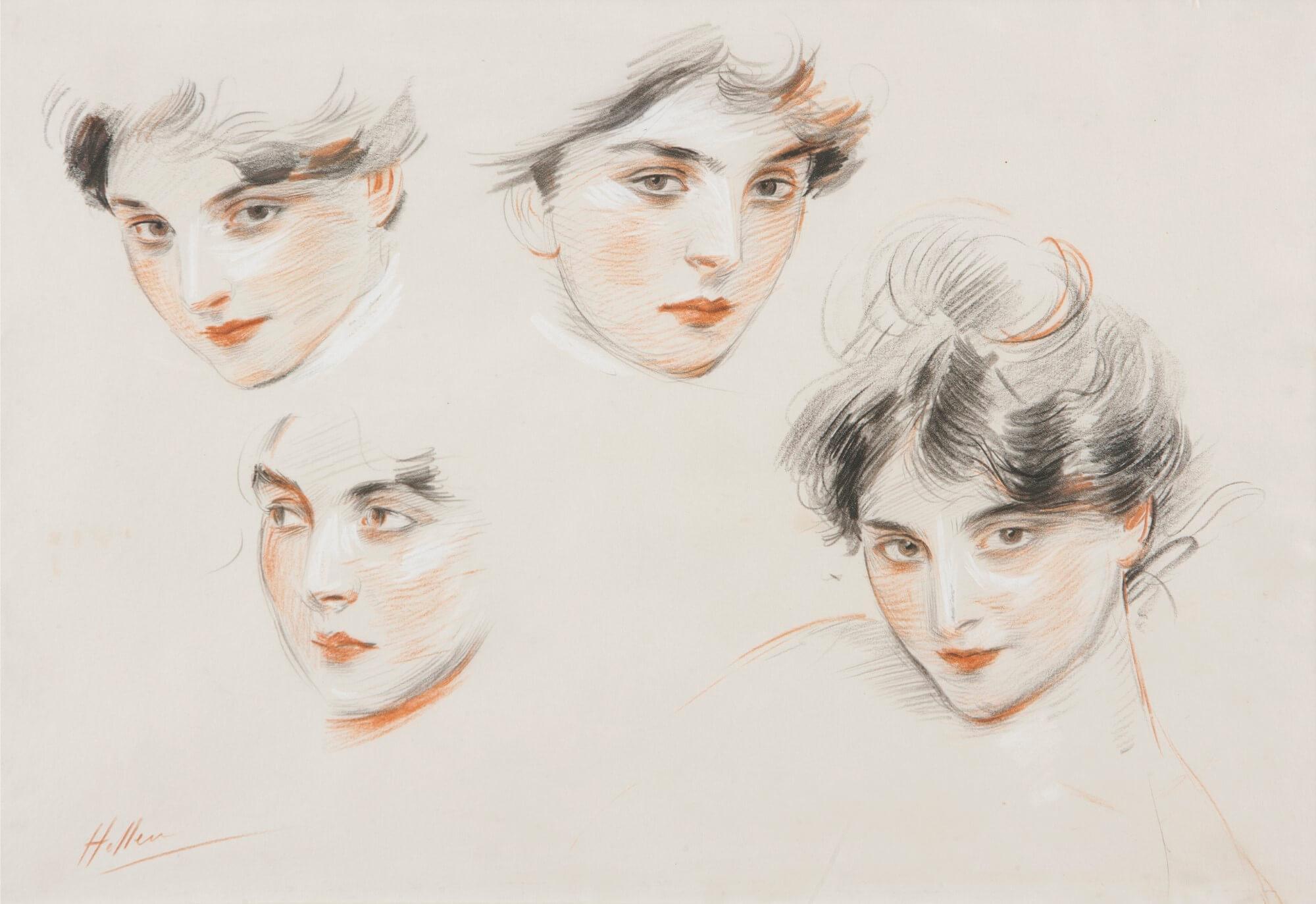 Paul César Helleu. Mademoiselle Conquis, étude de têtes, 1890 circa. Galleria Bottegantica