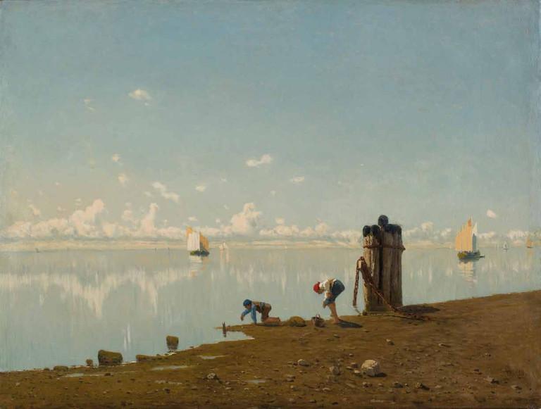 Guiglielmo Ciardi, Pesca al tramonto, 1883 c.