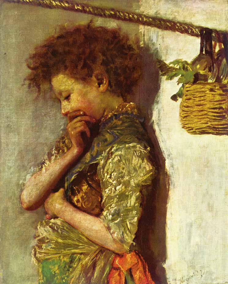 Antonio Mancini, Scugnizzo con cesto di frutta, 1874