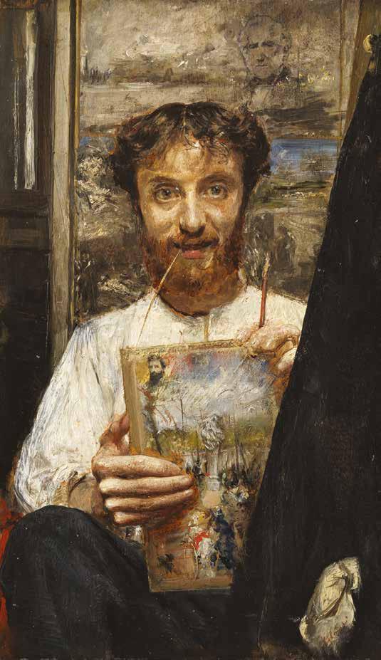 Antonio Mancini, Autoritratto con filo di paglia in bocca, 1880 c.