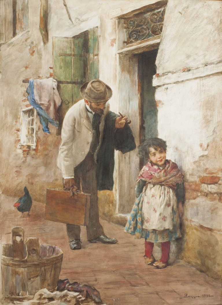 Alessandro Zezzos, Il pittore e la bambina, 1890